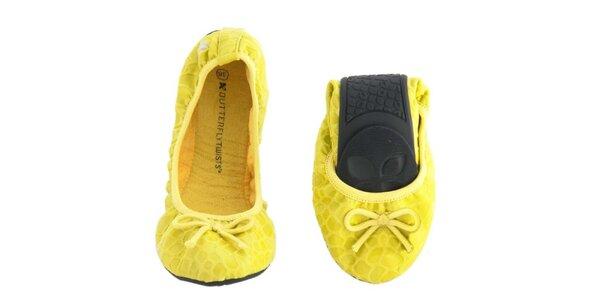 Dámské žluté balerínky s mašličkou Butterfly Twists