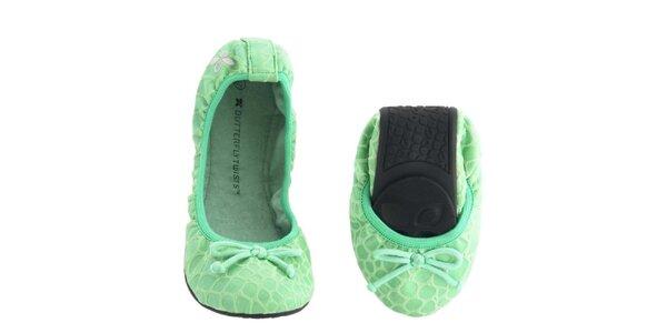 Dámské zelené balerínky s mašličkou Butterfly Twists