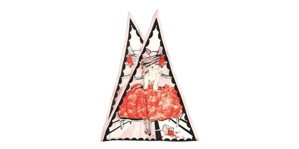 Luxusní hedvábný šátek Dior s motivem ženy se světle růžovým lemováním