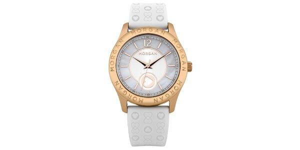 Dámské bílé hodinky se srdíčky Morgan de Toi