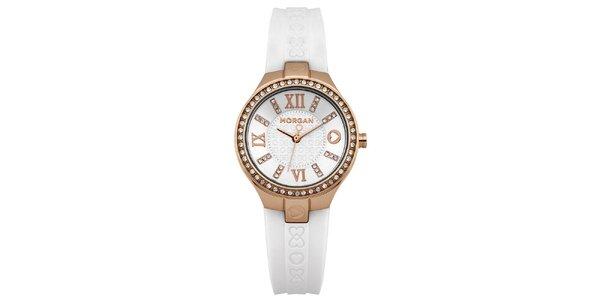 Dámské analogové hodinky s bílým páskem Morgan de Toi