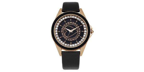 Dámské černé analogové hodinky z oceli Morgan de Toi