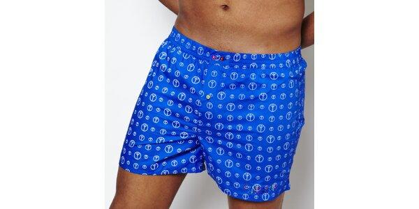 Pánské modré trenýrky s mírovými znaky Color Code