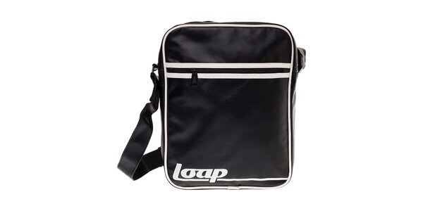 Černá taška přes rameno Loap s bílými detaily