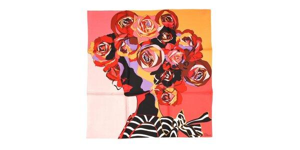 Luxusní hedvábný šátek Dior s motivem ženské hlavy v červánkové barvě