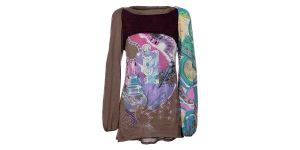Dámský khaki top Custo Barcelona s barevnou koláží a pletenou vestičkou
