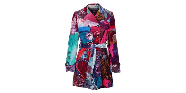 Dámský pestrobarevný zimní manšestrový kabát Custo Barcelona