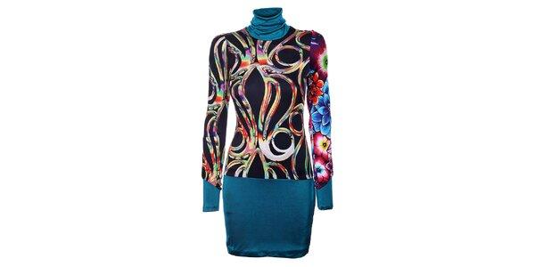 Dámské černé šaty Custo Barcelona s barevným vzorem a tyrkysovým lemem