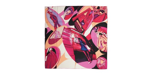 Luxusní hedvábný šátek Dior ve fuchsiové barvě