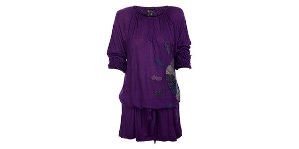 Dámské tmavě fialové šaty Custo Barcelona s aplikací