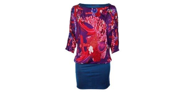 Dámské fialovo-červené šaty Custo Barcelona s potiskem a modrým lemem