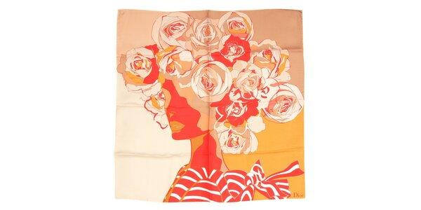 Luxusní hedvábný šátek Dior s motivem ženské hlavy v meruňkové barvě
