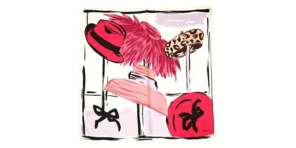 Luxusní hedvábný šátek Dior s motivy klobouků v růžových barvách