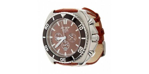 Pánské ocelové hodinky Jet Set s hnědým koženým řemínkem