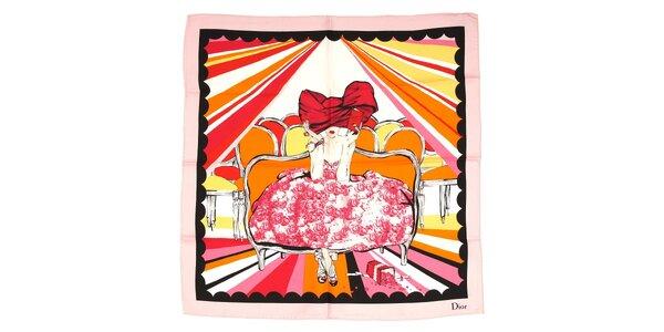 Luxusní hedvábný šátek Dior s motivem dámy v růžových barvách