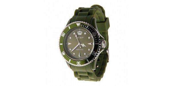 Tmavě zelené hodinky Jet Set s pryžovým řemínkem