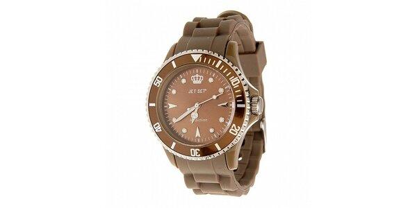 Tmavě hnědé hodinky Jet Set s pryžovým řemínkem