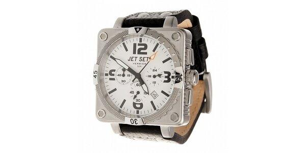 Ocelové hodinky Jet Set s černým koženým řemínkem