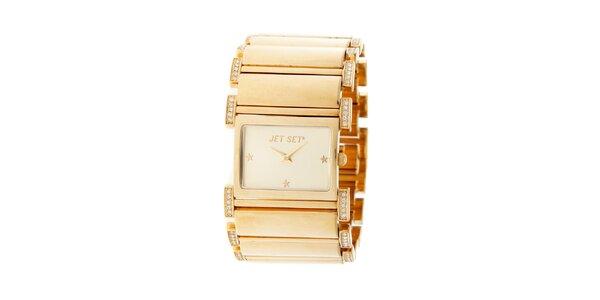 Dámské zlaté náramkové hodinky Jet Set s kamínky