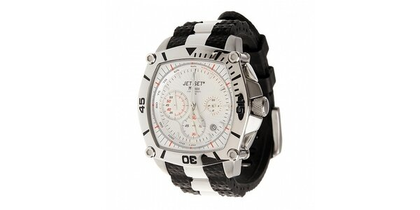 Ocelové hodinky Jet Set s černými detaily