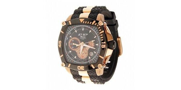 Ocelové hodinky Jet Set s černými detaily a zlatým povlakem