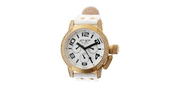 Dámské zlaté hodinky Jet Set s bílým koženým řemínkem a kamínky