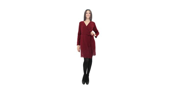 Dámské vínové zavinovací šaty Miss June s krajkou