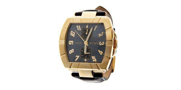 Dámské zlaté hodinky Jet Set s černým koženým řemínkem
