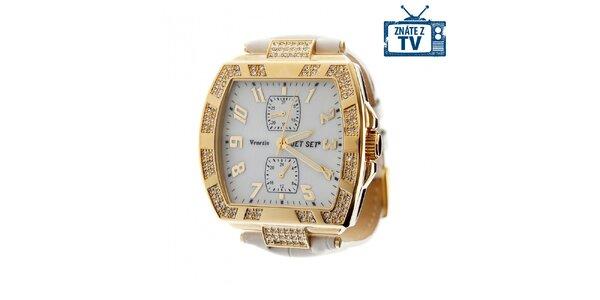 Dámské zlaté hodinky Jet Set s kamínky a bílým koženým řemínkem