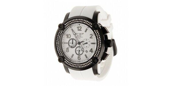 Černé ocelové hodinky Jet Set s krystaly a bílým plastovým řemínkem