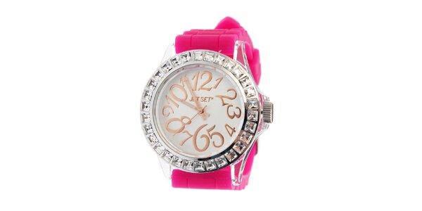 Dámské ocelové hodinky Jet Set s růžovým silikonovým páskem