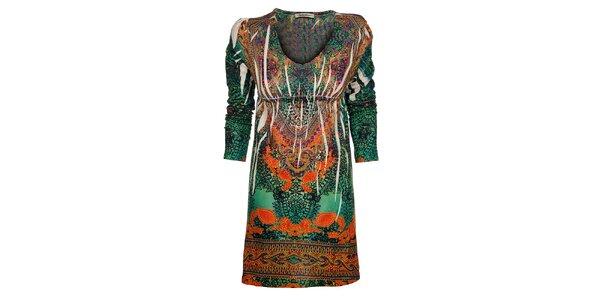 Dámské zeleno-oranžové šaty Snake Milano