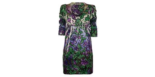 Dámské zeleno-fialové šaty Snake Milano s potiskem a kamínky