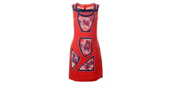 Dámské korálově růžové šaty Via Bellucci s potiskem