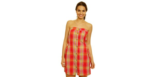 Dámské červeno-žluté kostkované šaty bez rukávů Nice Things