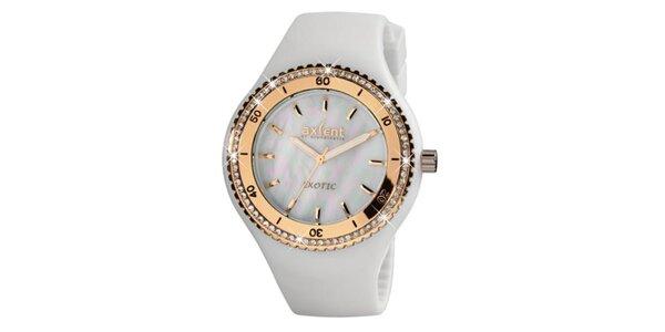 Dámské zlaté ocelové hodinky Axcent s bílým pryžovým řemínkem