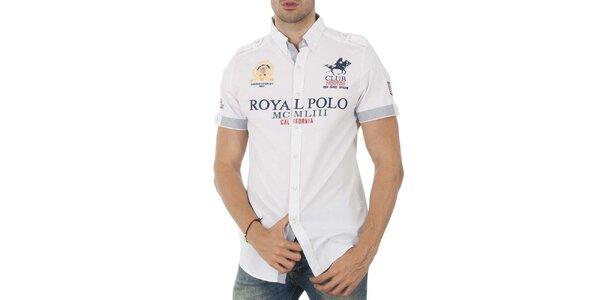 Pánská bílá košile s krátkým rukávem a nápisem Geographical Norway