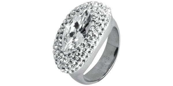 Dámský ocelový prsten Swarovski Elements s čirými krystaly