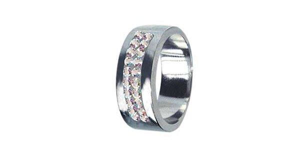 Dámský ocelový prsten Swarovski Elements s duhovými krystaly