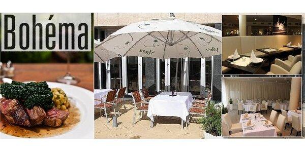 349 Kč za osvěžující jarní menu pro dva v Restaurantu Bohéma. SLEVA 59 %.