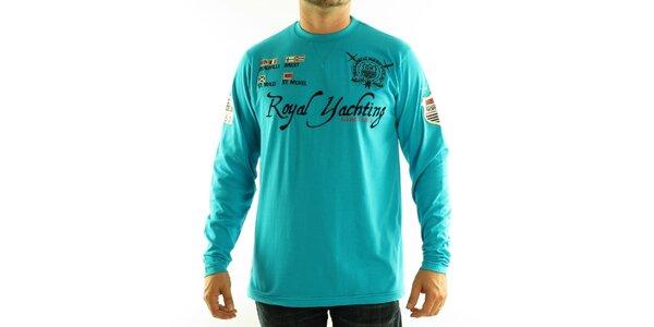 Pánské tyrkysové modré tričko Geographical Norway