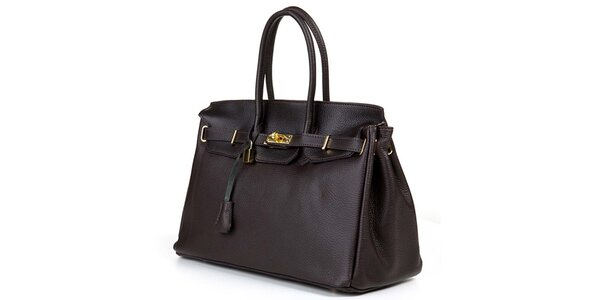 Dámská tmavě hnědá kabelka se zlatým zámečkem Giulia