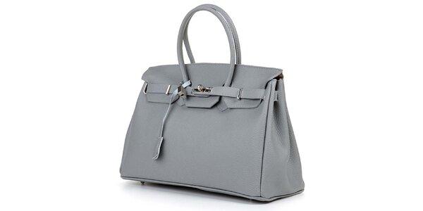 Dámská šedá kabelka se stříbrným zámečkem Giulia