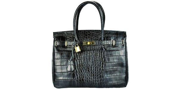 Dámská černá kabelka se zlatým zámečkem Giulia