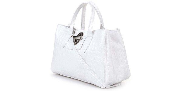 Dámká bílá kabelka s krokodýlím vzorkem Giulia