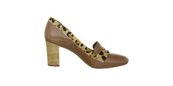 Dámské leopardí mokasíny na podpatku Via Uno