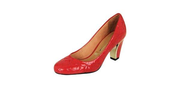 Dámské lakované červené lodičky se vzorem Vizzano