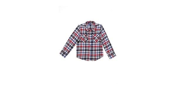 Dětská červeno-modro-šedá kostkovaná košile Buby