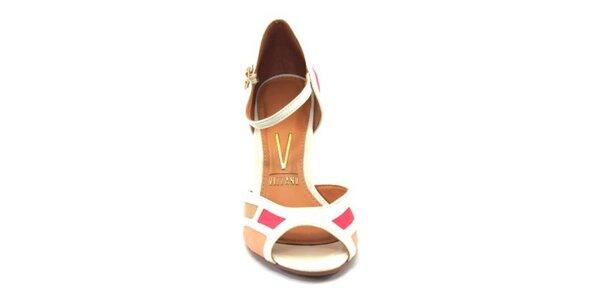Dámské světlé barevné sandálky na podpatku Vizzano