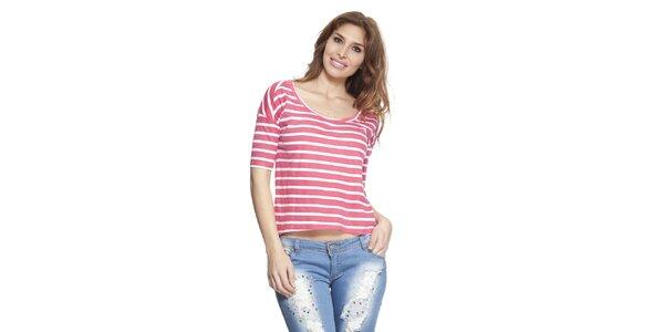 Dámské růžovo-bíle pruhované tričko Janis